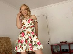 Blonde that loves to suck cock is getting out of her dress to show off
