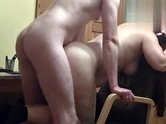 voyeur cam - unaware wife fucked on office chair