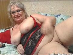 Chunky granny takes young-looking cock