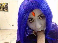 Raven gargles On A mouth-watering pecker ( Teen Titans Cosplay )