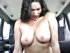 Get down and dirty Bus hoe with big natural titties