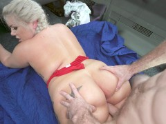 Ashley Barbie lying on her stomach getting pussy plowed