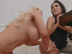 Lela Star and Nicolette Shea compete for cock like their lives depend on it