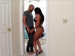 Hotwife Romi Rain gives a bj and rides hubby's buddy while he watch