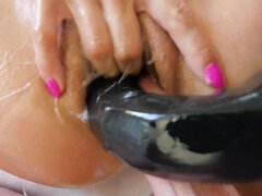 Asian-American doll Kalina Ryu oiled up and fucked