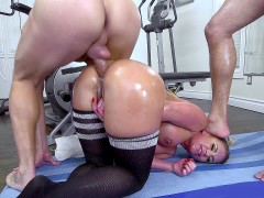 Phoenix Marie has her ass hole trained by two big-dicked studs