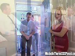 Dirty blonde housewife has an intercourse a duo hunky strangers in all her holes