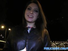 Publicagent Akasha Sex under a public bridge for black haired chick