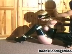 Hot blonde gets her boobs squeezed as she gets tied up