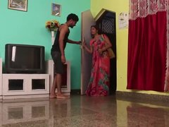 Young Indian stud fucks older woman in his bedroom