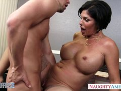 Sexy brunette eager mom Shay Fox gives head