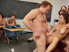 Sex lessons with a dirty teacher and a horny old guy