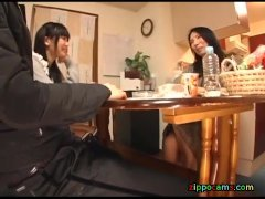 japanese footjob under table