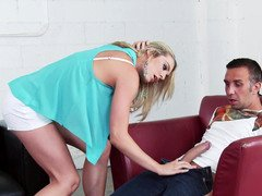 A blonde that has puffy nipples is working on a sizeable shaft