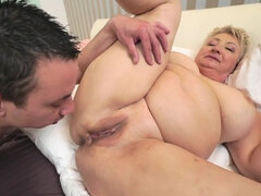 Garnny Astrid only wants Rob's thick dick in her old pussy.