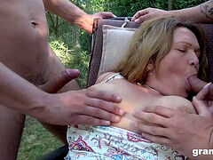 nasty grandma Seducing two Gardners