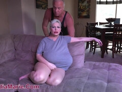 Chubby Claudia Marie rubs dude with her boobs