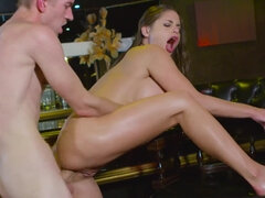 Cathy Heaven tricks her friend into a sneaky anal fuck by the bar