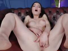 Girl takes big black sex toy and puts in the moist pussy