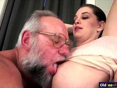 Hottie Angelina Brill gives head to a grandpa and rides cock