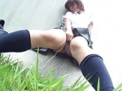 Japanese schoolgirls sextoy pussies over panties in public