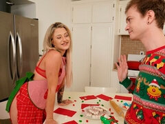 Fair-haired beauty Harmony Rivers pampering her stepbrother