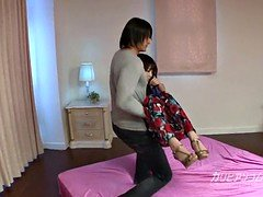 pretty oriental ex girlfriend Megumi got Tied up and eyes cover