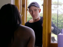 Ebony Jai James uses her neighbor's huge white cock to orgasm
