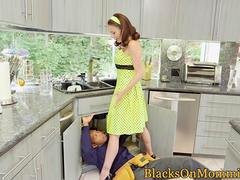 Housewife BBC stuffed in interracial trio