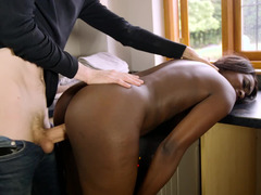 Black girl experiences a monster cock in her wet pussy