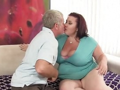 Porky Aged Beauty Woman Lynn Gets Pummeled by an Old Cock