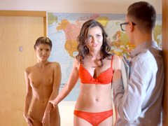 Nerdy teacher has an intercourse glamorous student and her lusty stepmom