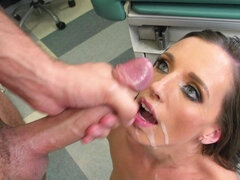 Juicy nurse helps out with a blowjob