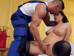 Czech brunette in stockings rides handyman's cock after blowjob