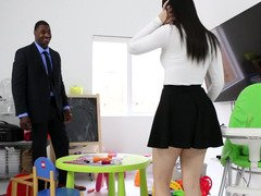 Impeccable white girl in a short skirt fucked by big black fuck tool