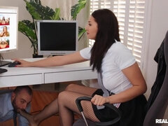 Stirling Cooper & Bella Rolland in steamy office action