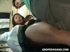 asiatic schoolgirls groped and fucked in train