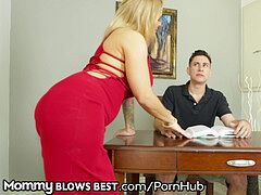 Big Tit Step MILF Sucks & milks Son's Big wood B4 daddy Sees!