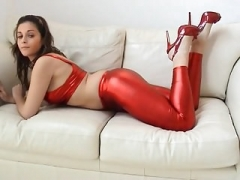 Splendid Curvy British Broad Kirsty in Shiny Red Spandex