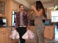 Hot mom with giant fake tits Lisa Ann satifies stepson in the kitchen