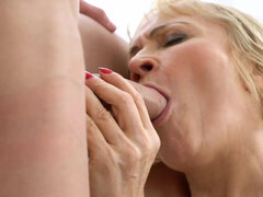 Young neighbor grinds his cock deep into this lusty grandma's tight ass