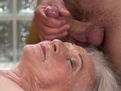 Granny gives bj off masseur