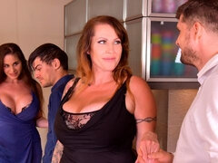 Lusty angels Cathy Heaven and Laura Orsolya are getting rammed