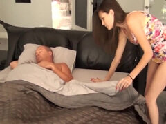 Skinny brunette with small boobies fucked by her stepfather