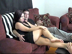 Couple's soles Worshiped by obedient sub