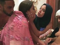 Group bondage and also big Hot arab women try foursome