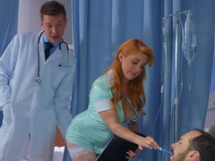 Sexy nurse Penny Pax provides necessary methods to save her patient