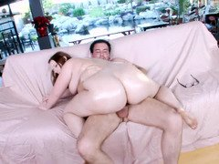 Rotund chick Felicia Clover lubed up and fucked passionately