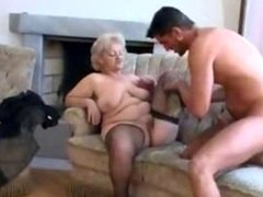 Plump Grown-up Blonde Granny In Stockings Gets down and dirty