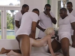 five blacks with sizeable cum cannons tearing up little blonde